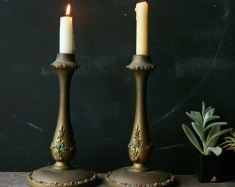 Pair of Antique Wood and Plaster Candlesticks Gold Vintage From Nowvintage on Etsy