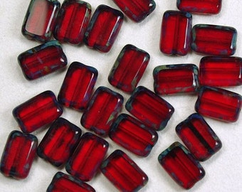Ruby Red Picasso Rectangle Window Czech Glass Beads 8x12mm - 12