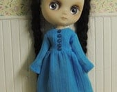 Aqua Crinkle Dress with Miniature Buttons for Middie Blythe
