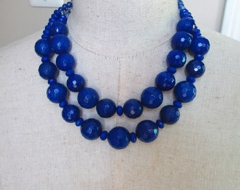 Chunky Cobalt Royal Blue Double Strand Beaded Necklace