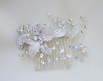 Bridal Austrian Crystal Hair Comb /  Hair Comb / Victorian Bridal Hair Comb / Bridal Crystal Headpiece ( Last One Special Price! )