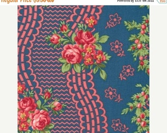 SALE Indigo Rose by Verna Mosquera for Free Spirit Midnight Blossom Time 1 yard