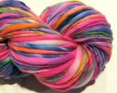 Handspun Yarn, Jubilation, 142 yards, hand dyed merino wool, hot pink yarn, rainbow yarn,  waldorf doll hair, knitting supplies,crochet