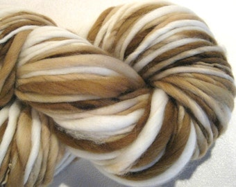 Handspun Yarn Latte 138 yards hand dyed tan yarn  white yarn brown yarn merino wool crochet supplies  waldorf doll hair knitting supplies