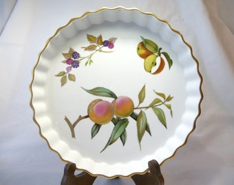 Vintage Evesham Dish, Royal Worcester, Fine Porcelain, Made in England, Oven to Tableware, Fluted Dish, Vintage Housewares, Fruit Designs