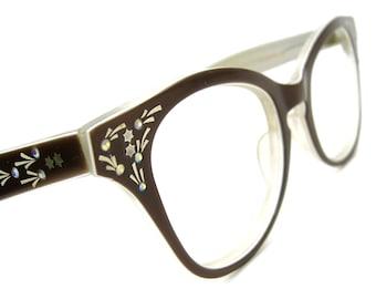 Vintage Brown Rhinestone Cats Eye Eyeglasses Sunglasses Frame France