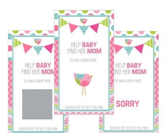 ON SALE Set of 12 Scratch Off Game Cards for Baby Showers with Bunting and Birds in Pink, Lime Green and Aqua SC113