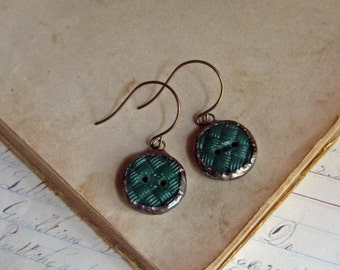 Recycled Glass Button Earrings Stained Glass Jewelry