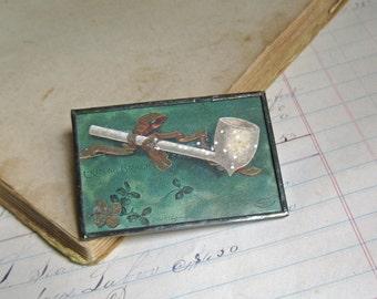 Erin Go Bragh St. Patricks Day Postcard Pin, Original Postcard Jewelry Sale
