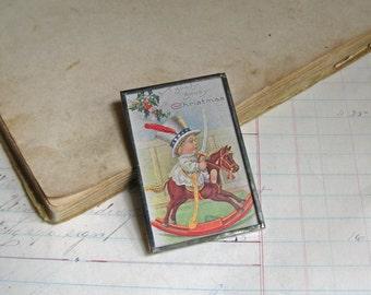 Christmas Postcard Pin, The Original Postcard Jewelry, Inventory Sale
