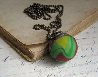 Long Necklace Matte Glass Shooter Marble Pendant