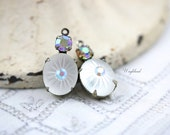 Vintage Glass Stones 1 Ring 19x10mm Silver Antique Brass Prong Settings Frosted White & AB Crystal - 2 ..