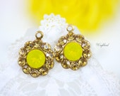 Light Topaz & Yellow Opal Swarovski Rhinestone Flower Earring Drops 13mm - 2 ..