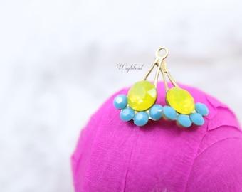 Fan Charms Vintage Swarovski Crystal Brass Settings Rhinestone Drops Yellow Opal & Turquoise Blue - 11x17mm - 2
