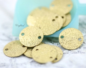 Textured Round Brass Tags Connectors  10mm TWO holes - 100