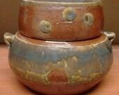 Salt fired Stoneware covered jar