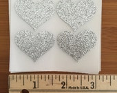envelope seals -  silver glitter heart seals - stickers