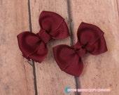 Girls Hair Bows-Maroon--2 Inches
