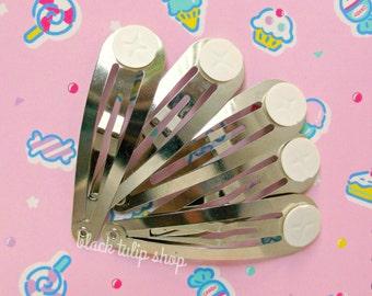 5pc Snap Hair Clips Blank Barrettes Glue Pad DIY Hair Accessories Silver Tone Hair Clips Kids Hair Clips Cute Hair Barrettes Deco Supplies