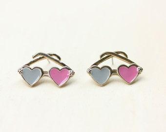 Sunglass Earrings - Pink/Grey