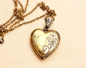 Gold Filled Vintage Flower Heart Locket Necklace