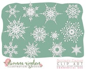 Snowflake Clip Art - .PNG Commercial Use-Instant Download-High Res - Fantasy Flakes
