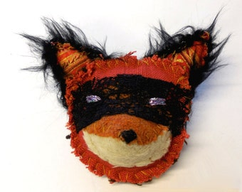 Bad fox brooch - textile