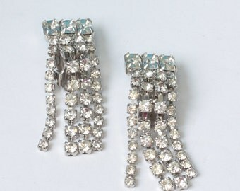 Rhinestone Dangle Fringe Earrings Clear Crystals Clip On Wedding Prom