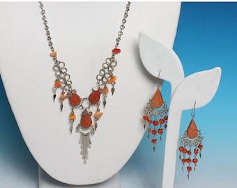 CIJ Sale Boho Necklace Earrings Orange Stone Beads Dangles Vintage Tribal Artisan