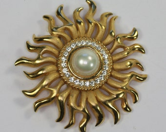 Vintage Sunburst Brooch Glass Pearl Rhinestones Larger