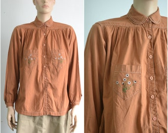 70s Embroidered Hippie Blouse 70s Boho Blouse Vintage Shirt Top - medium to large