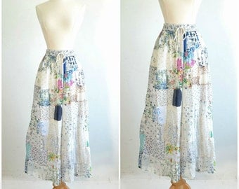 Cotton Patchwork Boho Maxi Skirt / Vintage Sheer Hippie Skirt / India / Unworn / one size