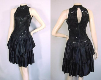 80s Black Sequin and Satin Halter Party Dress with Tiered Skirt and Cutout Back - Small