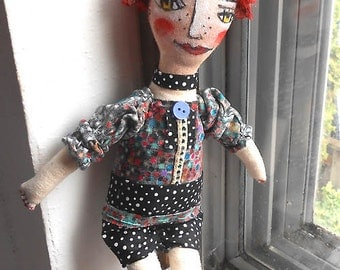 Original Art Doll - Cora Doll with red hair, Hand made hand painted OOAK by miliaart studio