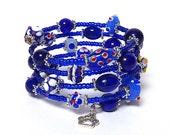AZUL coil Beaded Bracelet by Beading Divas Fundraiser