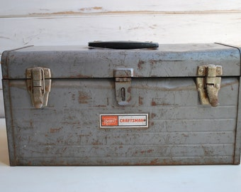 Vintage Sears Tool Box, Craftsman Metal Tool Box, Vintage Craftsman Tool Box, Vintage Tool Box, Tool Box, Vintage Storage Box,