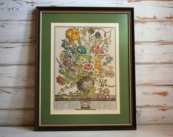 March Flowers of the Month Vintage Lithograph, Vintage Botanical Print, Vintage Lithograph, Botanical Print, Vintage Flower Print