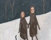"Original painting, 5x7, ""Walk in the Snow"""