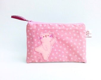 Pink cat coin purse zipper pouch wallet small change purse cable organiser cat gift for her girls stocking stuffers Christmas gift