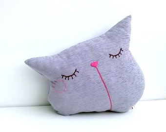 Purple Cat Pillow, Sleepy Kitty Pillow, Decorative Cat Pillow, Sofa Pillow, Couch Pillow Cat, Modern Decor - Sleepy Kitty