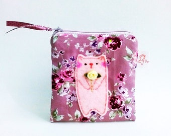 Pouch Cat, Coin Purse Cat, Cat Wallet, Coin Purse, Zipper Coin Pouch, Small Coin Pouch, Gift For mom