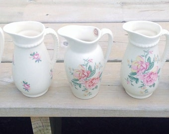 Lot 5 vintage vases pitchers royal copley roses 6 inches