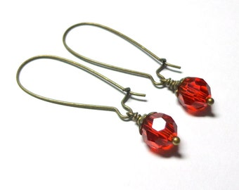 Swarovski Red Crystal Earrings, Crystal Earrings, Spiritcatdesigns, Antique Brass