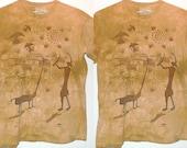 "Sun Cycle VTG TShirt Dance Celebration Symbols Shadows Cotton Tee Nature Animals Birds Top 41""chest 26""L Tan Tie Dye Hippy The Mountain"