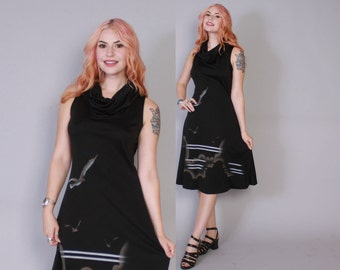 Vintage 70s DRESS / 1970s Black Novelty BIRDS Seagulls Cowl Neck Sleeveless Dress xs - s