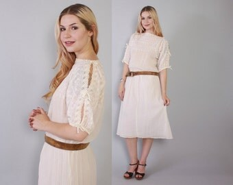 Vintage 70s Gauze DRESS / 1970s Semi Sheer Cotton Embroidered Boho Midi Dress