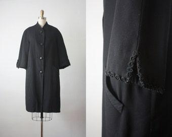 swing coat / 1960s black winter coat