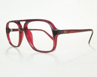Vintage 1980s Mens Aviator Red Eyeglasses Glasses Sunglasses Cranberry Ruby Dark Blood 80s Eighties Indie Hipster Chic Retro Deadstock