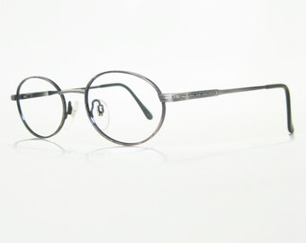 Vintage Reading Glasses 1980s Readers Metallic Silver Oxidized Womens Ladies Oval Filigree Shiny 80s Eighties Retro Eyeglasses
