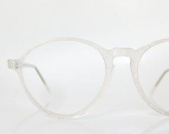 POP SALE Vintage Icy White Round Eyeglasses Jean Lafont France Paris Snow White Frosty Sparkle Metallic Hipster Indie 1960s 60s Sixties Wome